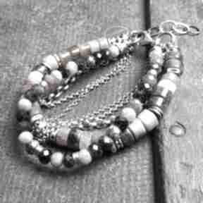 Bransoletka srebrna z turmalinami - podwójna treendy turmalin