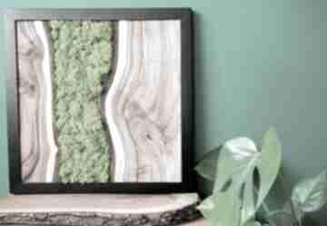 Obraz drewniany z orzecha oraz mchu w ramie stalowej loft