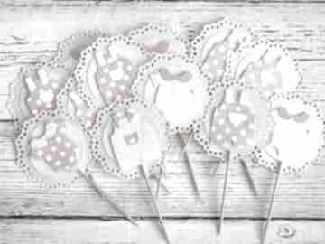 Piki do ciast - wyprawka maluszka 5szt zaproszenie biala