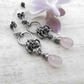 Chalcedonowe krople w różu - kolczyki jewelsbykt biżuteria