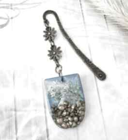 1075 - zakładka do książki żywica, kamienie, kwiaty zakładki