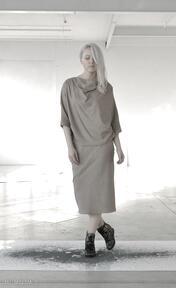 Lamia - dwuczęściowa sukienki nah nu wełniana, midi, elegancka