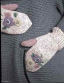 Rękawiczki z kwiatkami filcowanymi jaga11 filcowane, kwiatki