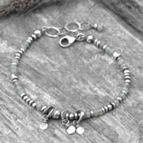 Surowa srebrna bransoletka z chryzoprazem 158 grey line project