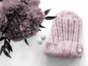 Ręcznie robiona czapka fluo pink czapki borba fluo, narty