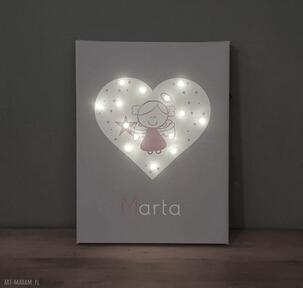 Pamiątka chrztu obraz led aniołek lampka serce prezent