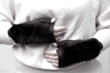 Rekawiczki bezpalcowe z futerkiem fiolet rękawiczki gofashion
