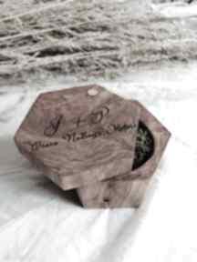 Pudełko na obrączki drewniane z grawerem ślub hagal rustykalne