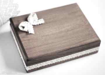 Pudełko na obrączki 3 serca ślub biala konwalia drewno, koronka