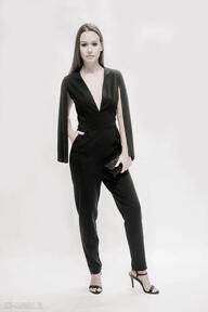Spodnie ququ design elegancki kombinezon, czarny eleganckie