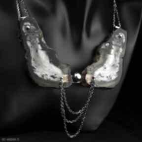 Zjawiskowa kolia z bursztynem srebro naszyjniki barbara