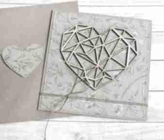 Kartka ślubna, miłosna - geometryczne serce zieleń kartki