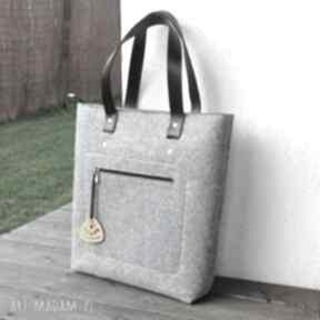 Top glam - torebka filcowa szara na ramię beltrani filcowa