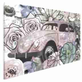 Obraz na płótnie - garbus kwiaty hippie 120x80 cm 36201 vaku