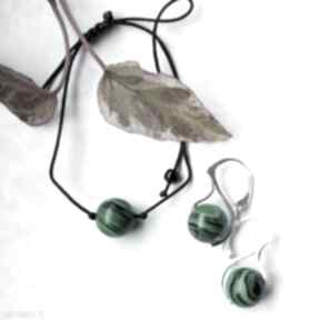 Komplet biżuterii bransoletka i srebrne kolczyki z malachitem