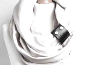 Komin tuba szalik na damski, bawełniany z zapinką, modny kominy