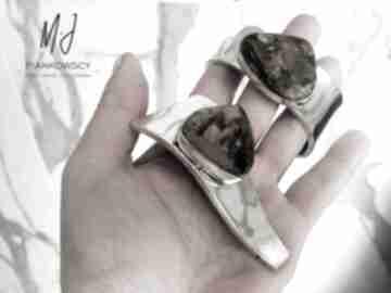 Nowoczesna bransoleta oraz wisior komplet ze srebra z bursztynem