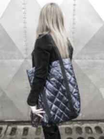 Pikowana torba granatowa pojemna na ramię godeco torebka
