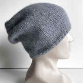Ręcznie robiona czapka hand made alpaka air 16 niebieski czapki