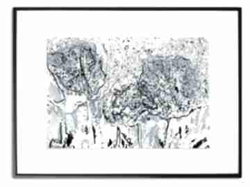 Grafika w ramie z passe-partout niebieska łąka 40x30 renata