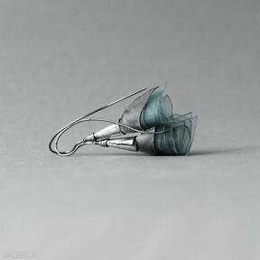 Małe kolczyki srebrne w metaliczno-turkusowym kolorze