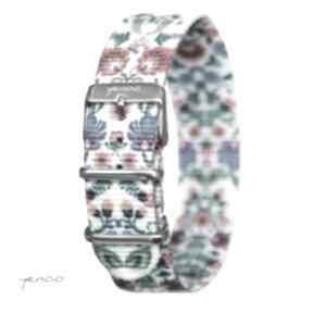 Pasek do zegarka - nato, nylonowy, folk biały zegarki yenoo