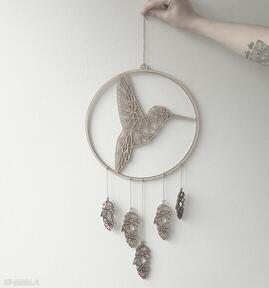 Łapacz snów z geometrycznym kolibrem hagal zwierzęta, sklejki