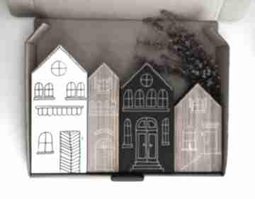4 domki ręcznie malowane dekoracje wooden love domki, domek