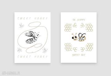 2 plakaty z pszczołami, zestaw plakatów psczółkami, pszczółki