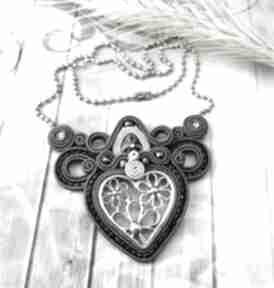 mela art: naszyjnik sutasz soutache ażurowy serce stal