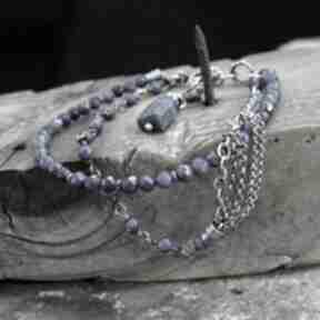 Lapis lazuli - bransoletka 01 arvena srebro oksydowane, lazuli