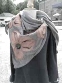 Szara chusta handmade wełniana, elementy filcowane to wełna
