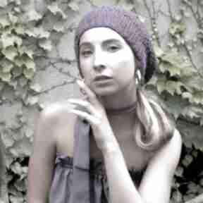 Beret ażurowy fioletowy czapki barska czapka, beret, ażur