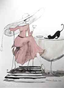 Adriana Laube Art! kobieta vintage akwarela kot kapelusz