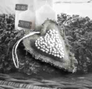 Serduszko lniane haftowane ozdoby świąteczne jaga11 len, haft