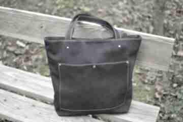 Granatowa torba nubuk naturalny na ramię juti bags z-kieszenią