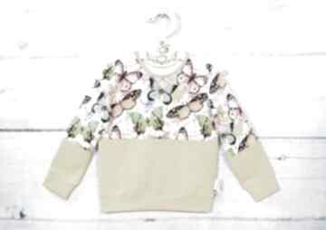 Bluza dziecięca lilla dla dziewczynki, bez kaptura, motyle