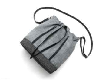 Worek sakiewka - plecionka niebieska i grafit na ramię torebki