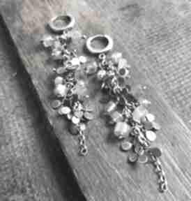Kolczyki srebrne z labradorytami - listki treendy wiszące