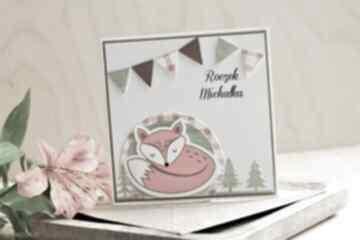 Kartka na urodzinki scrapbooking kartki annamade roczek, lisek