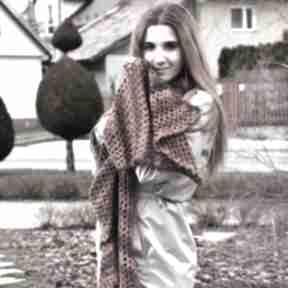 Wielki szal ażurowy w rudościach szaliki barska szal, szalik