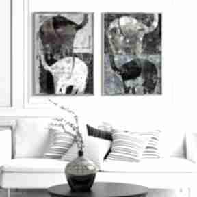 Zestaw 2 plakatów a2 - słonie plakaty creo plakat, wydruk, obraz