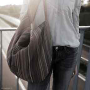 Duża torba worek na ramię w kolorowe paski sabi tatka hobo