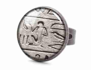 Hieroglify pierścionek regulowany egipt antyczny prezent ręcznie