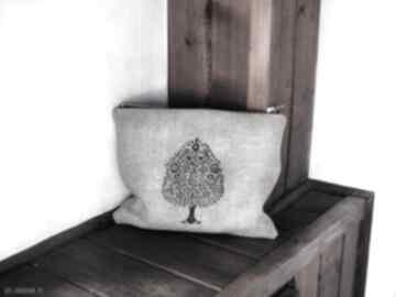 Kosmetyczka lniana etui wzór - drzewo figowe kosmetyczki monest