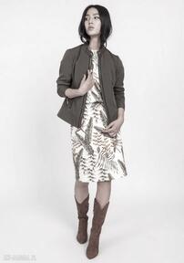 Dopasowana kurtka na zamek, kr104 khaki lanti urban fashion