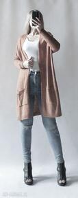 swetry. elegancki narzutka na-prezent z-kieszeniami puszysty