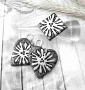 1065 mela - komplet kolczyki pierścionek z polimeru art komplet