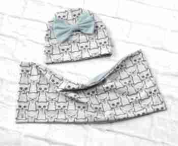 Komplet wiosenny dla dziewczynki czapka komin kotki chusta