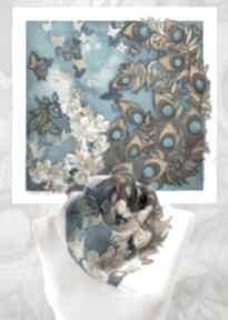 Apaszka jedwabna malowana pawie pióra chustki i apaszki minkulul